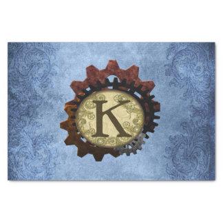 Papel De Seda O Grunge Steampunk alinha a letra K do monograma