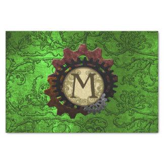 Papel De Seda O Grunge Steampunk alinha a letra M do monograma