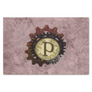 Papel De Seda O Grunge Steampunk alinha a letra P do monograma
