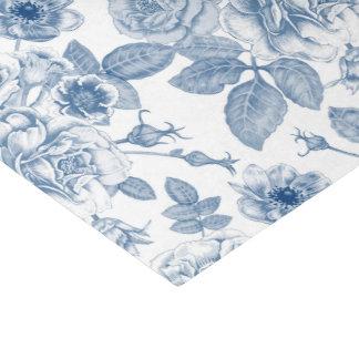 Papel De Seda Tecido floral branco azul elegante do partido do