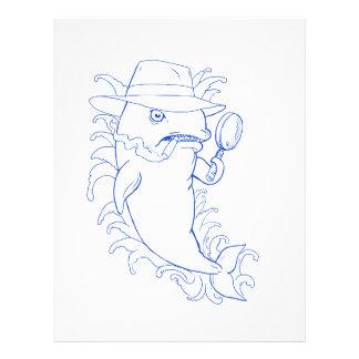 Papel Timbrado Desenho da baleia de assassino da orca do detetive