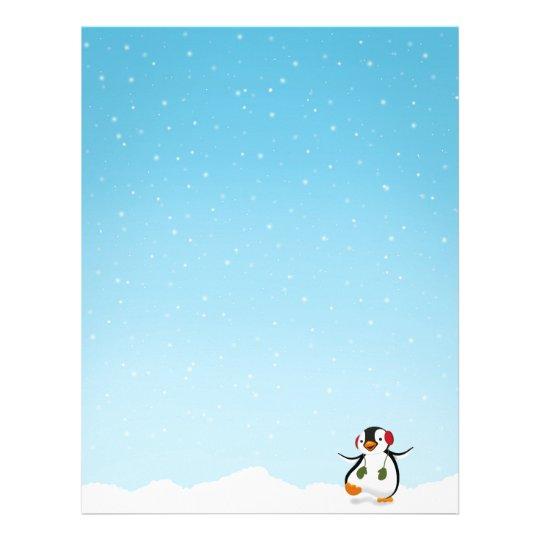 Papel Timbrado Inverno engraçado bonito do pinguim - artigos de