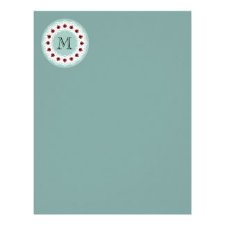 Papel Timbrado Monograma moderno bonito dos joaninhas do laço do