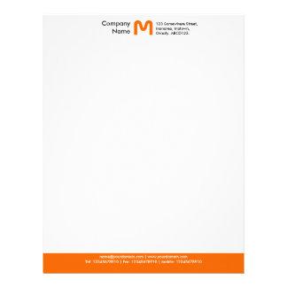 Papel Timbrado Pé de página da cor do monograma - laranja