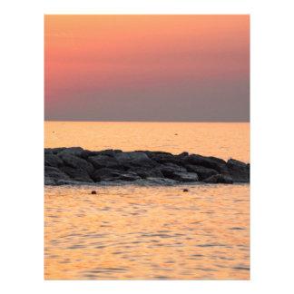 Papel Timbrado Pesca do homem no por do sol