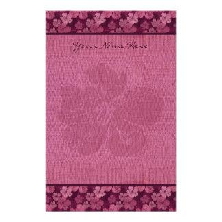 Papelaria Batik cor-de-rosa das flores do hibiscus