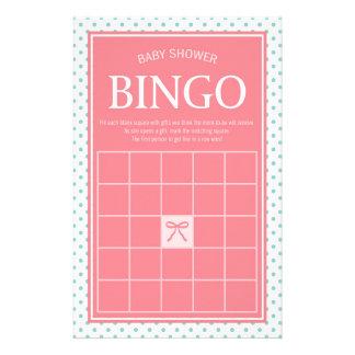 Papelaria Bolinhas e fita cor-de-rosa do Bingo do chá de