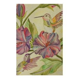 Papelaria Colibris e hibiscus da pintura da aguarela