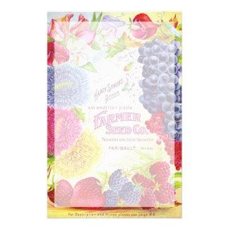 Papelaria Flores do vintage & papel de carta da fruta