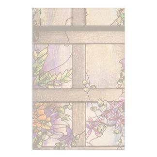 Papelaria O Clematis do vitral de Nouveau da arte floresce