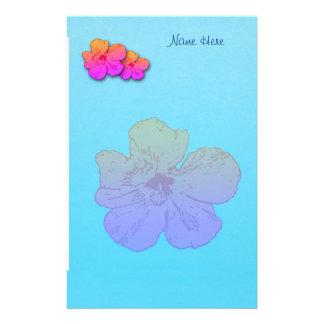 Papelaria O hibiscus floresce o rosa na turquesa