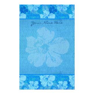 Papelaria O hibiscus floresce o tecido azul do Batik