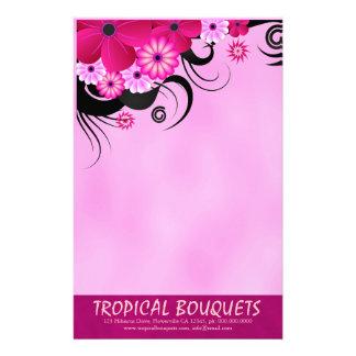Papelaria Papel de carta floral fúcsia escuro do florista do