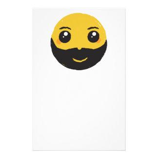 Papelaria Smiley de Kawaii que sorri com barba & bigode