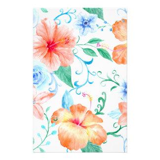 Papelaria Teste padrão alaranjado e azul da aguarela de flor