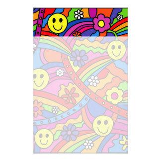 Papelaria Teste padrão do hippy do arco-íris e da flor do