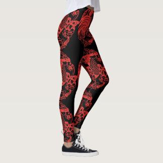 Papercut vermelho chinês do galo 2017 leggings