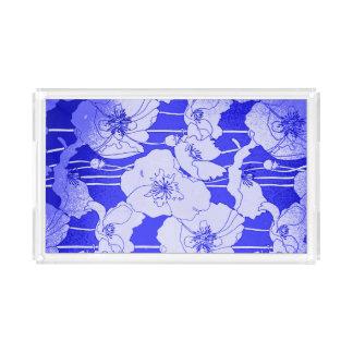 Papoilas azuis bonito do pop art moderno bandeja de acrílico