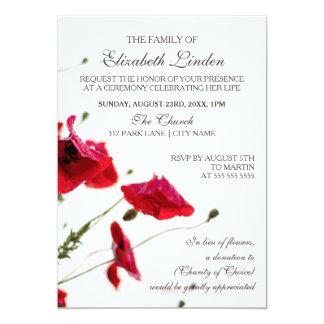Papoilas do vermelho da cerimonia comemorativa | convite 12.7 x 17.78cm