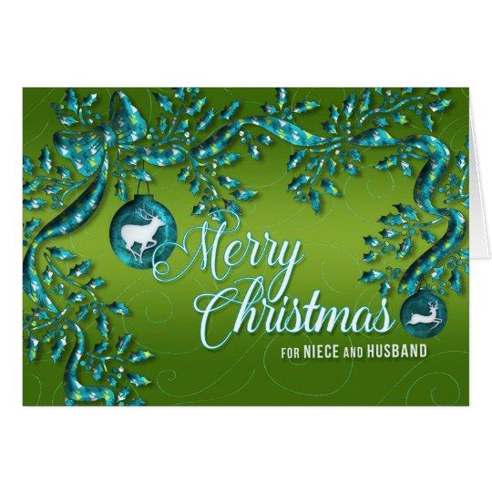 para a sobrinha e o marido verde-claro e a cartão comemorativo