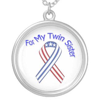 Para meu patriótico militar da irmã gêmea colar com pendente redondo