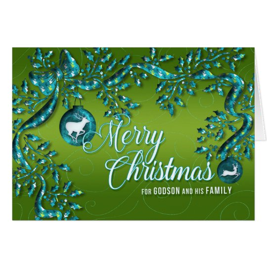 para o Godson e a família verde-claro e a turquesa Cartão Comemorativo