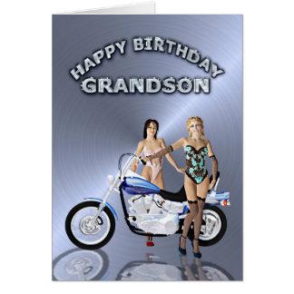 Para o neto, o aniversário com meninas e uma cartão comemorativo