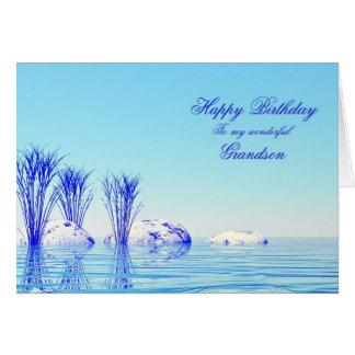 Para o neto, um cartão de aniversário calmo da águ