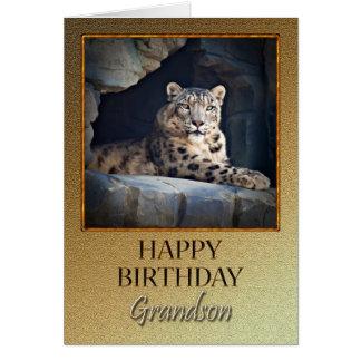 Para o neto um o aniversário com um leopardo de ne cartão