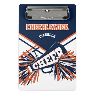 Para um cheerleader - azul marinho, laranja & mini prancheta