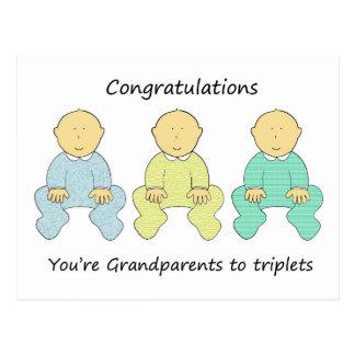 Parabéns, avós às objectivas triplas cartão postal