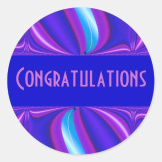 parabéns cor-de-rosa azuis brilhantes adesivo