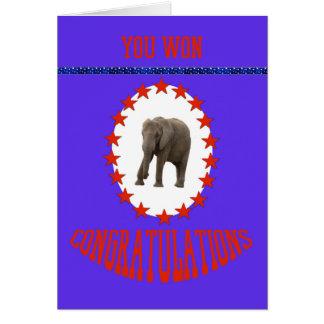 Parabéns da vitória da eleição com elefante cartão