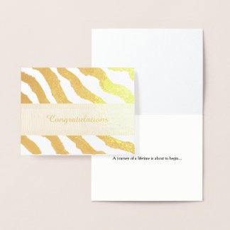 Parabéns do teste padrão da listra da zebra cartão metalizado