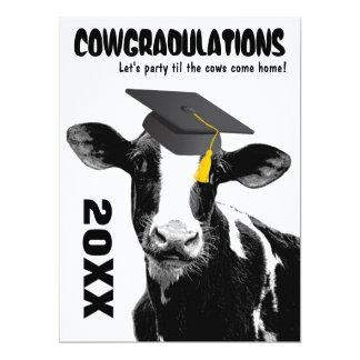 """Parabéns engraçados da graduação da vaca convite 16.51"""" x 22.22cm"""