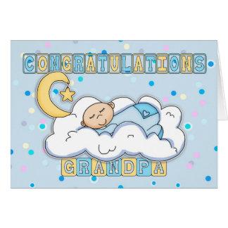 Parabéns novos do bebé do vovô cartão comemorativo