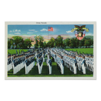 Parada de vestido da academia militar pôsteres