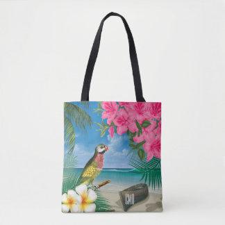 Parakeet bonito em um design tropical do oceano bolsas tote