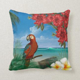 Parakeet em um design tropical do oceano almofada