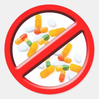 Pare drogas! adesivo redondo