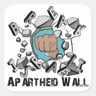 Parede israelita do Apartheid da ruptura Adesivo Quadrado