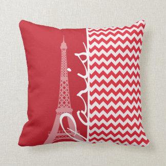 Paris; Carmesins de alizarina Chevron Travesseiro