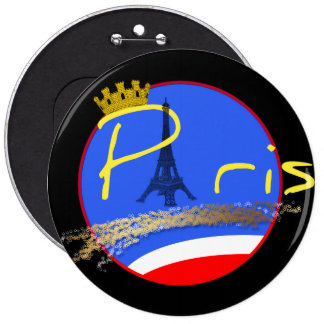 Paris com coroa - botão bóton redondo 15.24cm