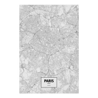 Paris, France (preto no branco) Poster