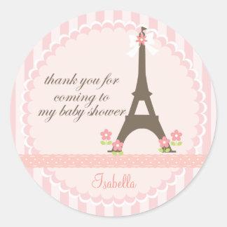 Paris no favor feminino do chá de fraldas do adesivo