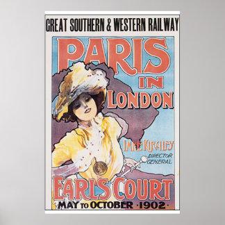Paris no poster das viagens vintage de Londres Pôster