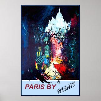 Paris pelo poster de viagens da noite pôster