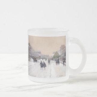 Paris sob a neve, caneca do vidro de fosco