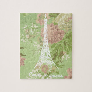 Paris, torre Eiffel floral do vintage do t'aime do Quebra-cabeça
