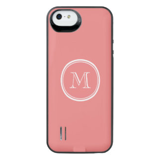 Parte alta coral clara monograma colorido capa carregador para iPhone SE/5/5s